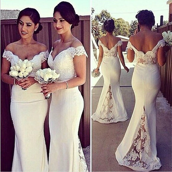 Women Fashion Elegant Off Shoulder Lace Bridesmaid Dresses 2020 Sexy Cap Sleeve Mermaid White Backless Wedding Guest Party Dresses 2020
