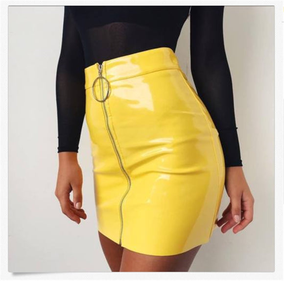 Leather High Waist Skirt 2020 Sexy Zip Faux Leather Short 2020 Pencil Bodycon Mini Skirt New Solid White Skirt