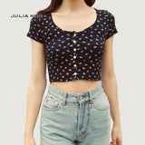Women Fitted Ribbed Crop Top 2020 Button Front Rib Crop Tee