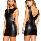 Women Hot Selling Mini Dress 2020 Sexy Faux Leather Wet Look Leather Sexy Dress 2020 Backless Fashion Bodysuit Clubwear Dress 2020   Swansstyle