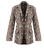 Women Ladies Long Sleeve Slim Blazer 2020 Suit Coat Work Jacket Formal Suit Plus Size Vintage Snakeskin Print Fashion Clothes NEW