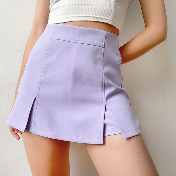 Women Mini Bodycon Purple Skirt 2020 Summer Women Fashion Mini Skirt 2020 With Front Split