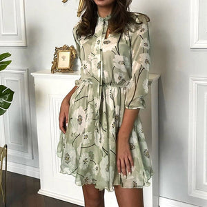 O-Neck A-Line Dress 2020 Spring-Summer Tie Flower Print Sexy Dress 2020 Ruffled Hem Mini Dress Fashion Long Sleeve Bohemian Dress 2020