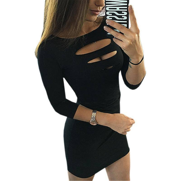 Women O-Neck Sexy Dress 2020 Sheath Package Hip Dress 2020 2019 Three Quarter Sleeve Hollow Out Bodycon Dress 2020 Club Party Vestidos