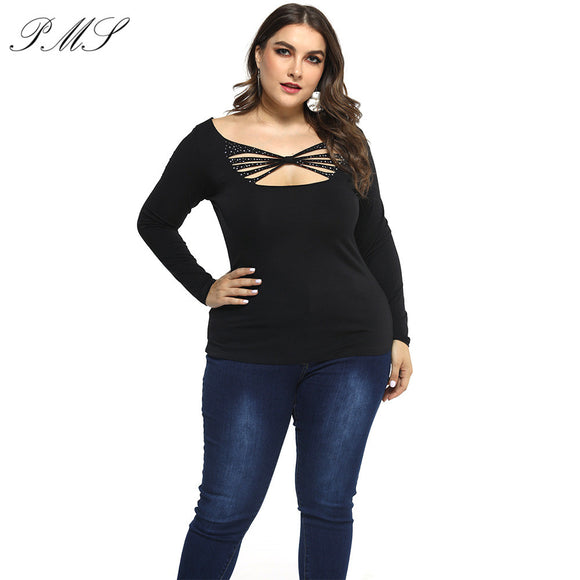 Women Plus Size T-Shirt V-neck Tops 2020 Criss Cross Shirt Women T Shirt Autumn Style Long Sleeve Tops 2020 Hollow Out Top Femme Top Tee Tshirt D30