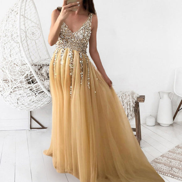 V Neck Maternity Prom Dresses Photography Props Short Sleeve Sequin Maternity Dresses Spring Summer Color Sequin Maternity Dress