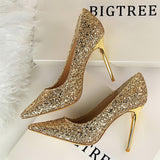 Women Pumps High Heels Wedding Shoes 2020 Sequins Leather Gold Stiletto Female Pointed-Toe Super Thin Heen Heels Sexy Ladies Shoes 43