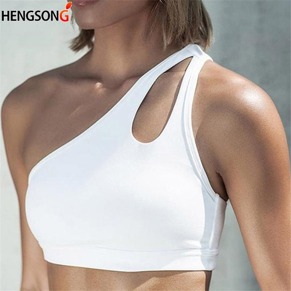 White Crop Top 2020 Women Push Up Fitness Bras One-shoulder Shockproof Fitness Athletic Vest Tees Fitness Bra Crop Tops Black White Sleeveless Tank Top
