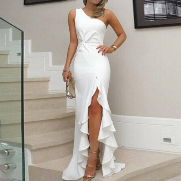 Women Ruffled Long Maxi Dress 2020 Elegant Ladies Evening Party Gown Formal Bridesmaid Wedding Dress 2020 Summer Beach Bodycon Sundress