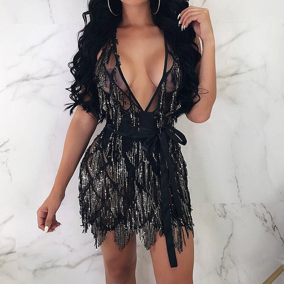 Women Sexy Bodycon Sequin Dress 2020 V-neck Sling Sheath Party Sequin Mini Dress 2020 Summer Vestidos De Verano Sukienka Deep V Neck Sheath Dress 2020