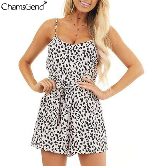 Women Sexy Leopard Print Jumpsuit 2020 Shorts Casual Loose Short Sleeve O-neck Beach Romper 2020 Summer Sleeveless Mini Party Playsuit