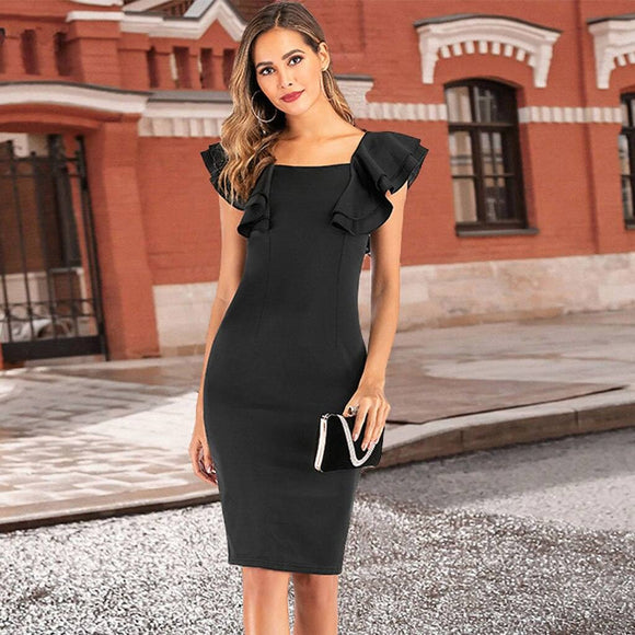 Women Sexy Slash Neck Shealth Dress 2020 Slim Bubble Short Sleeve Open Nack Bodycon Dress 2020 Sleeveless Ruffle Women Dress 2020 Vestidos
