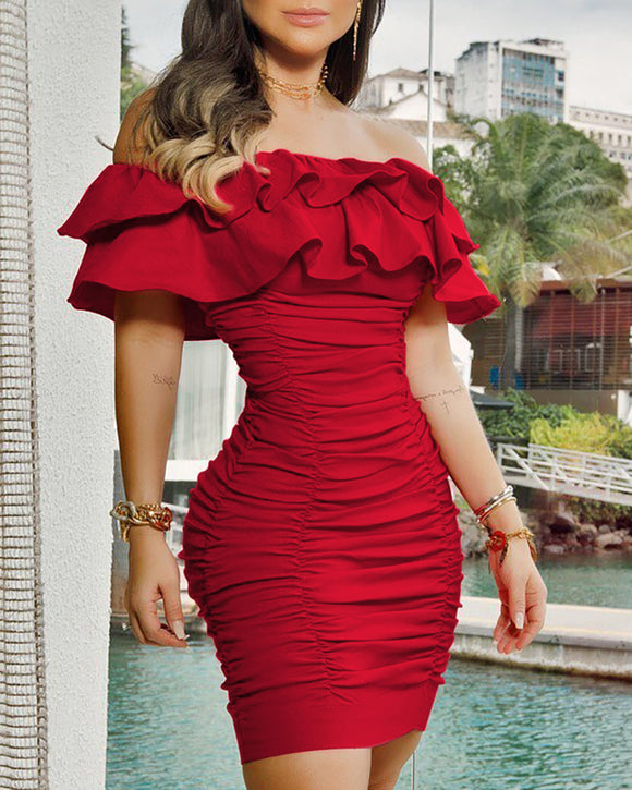 Women Short Sleeve Red Mini Dress 2020 Solid Ruched Layered Red Bodycon Dress 2020 Red Ruffle Dress Off Shoulder   Swansstyle