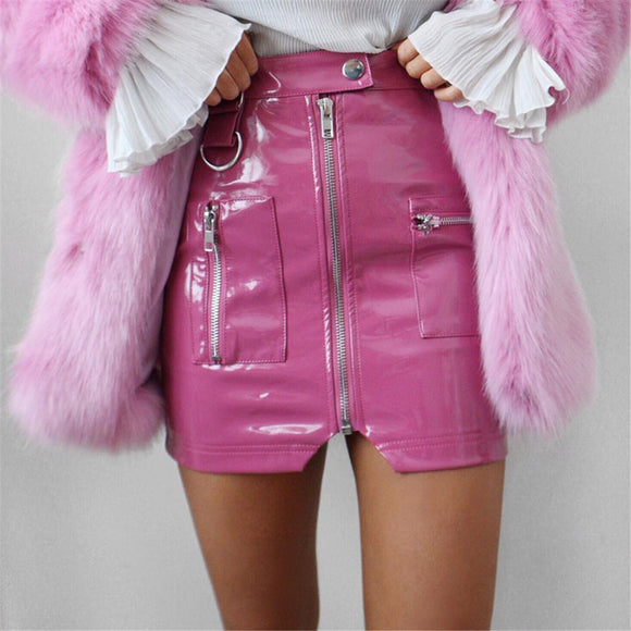 Zipper Leather Skirt 2020 New Fashon Sexy Leather Split Zipper High Waist Pencil Slim A-line For Girls Mini Sexy Skirts Womens