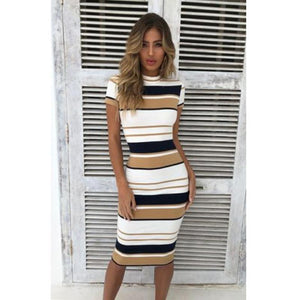 Women Summer Bandage Bodycon Short Sleeve Dress 2020 Ladies Party Vintage O Neck Pencil Dress 2020 Wrap Long Striped Midi Dress