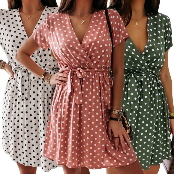 Women Summer Casual Polka Dot Dress 2020 V Neck Short Sleeve Printed Mid-Length Dress 2020 Beach Mini High Waist Lace-up Dress 2020
