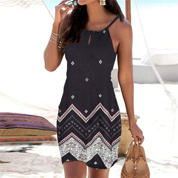 Women Summer Dress 2020 Fashion Halter Neck Boho Print Sleeveless Casual Mini Beachwear Dress 2020 Sexy Bodycon O-Neck Dress 2020 Sexy Sundress   Swansstyle