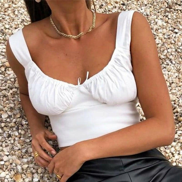 White Crop Top 2020 Women Summer Milkmaid Crop Tops Tanks Summer White Ruched Bow Slim Camis 2019 Ladies Wide Strap Tees Skinny Femme Camisole S M L Sleeveless Tank Top   Swansstyle