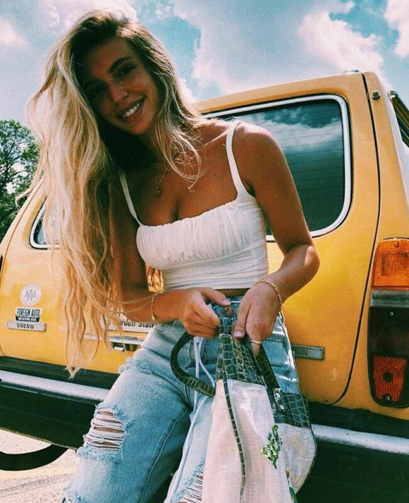 White Crop Top 2020 Women Summer Milkmaid Crop Tops Tanks Summer White Vest Slim Camis 2020 Ladies Wide Strap Tees Skinny Casual Femme Camisole S-XL   Swansstyle