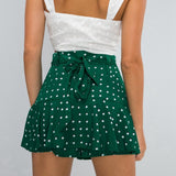 Women Summer Sexy Chiffon Skirt 2020 Green Polka Dot Print High Waist Skirt 2020 Lace Up Ruffle Mini Skirt Korean Skirts Womens Clothes Streetwear