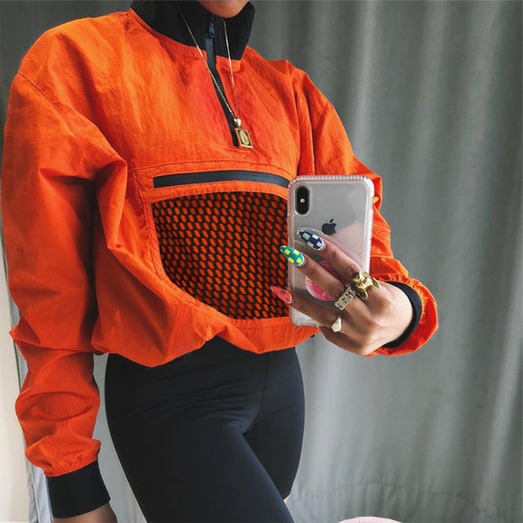 Hoodies & Sweatshirts 2020 Women Sweatshirt Mesh Patchwork 2020 Tunic Blouse Half Zip Long Sleeve Top Tracksuit 2020 Trendy Pullovers Orange Autumn Winter Hoodies