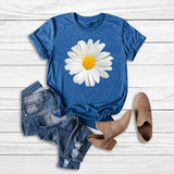 Women T-Shirt Tops Tees Short Sleeve Floral Printed Sunflower O-Neck Tops T-Shirt Blusas Plus Size camiseta mujer   Swansstyle