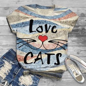 Women Top T-Shirt 2020 Round Neck Short Sleeve Cat Printed T-Shirt 2020 Top tops women 2020 Cute Teen T-Shirt   Swansstyle