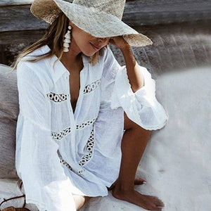 Women'S Bathing Swimsuit Bikini Cover Up Ladies Long Sleeve Casual Beachwear Swimwear Loose Summer Beach Dress 2020
