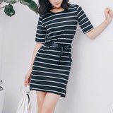 Women's Belt Striped Home Dress Open Fork Stripe Print Summer Dress O-Neck Short Sleeve Korean Oversized Dress Clothes Vestidos   Swansstyle