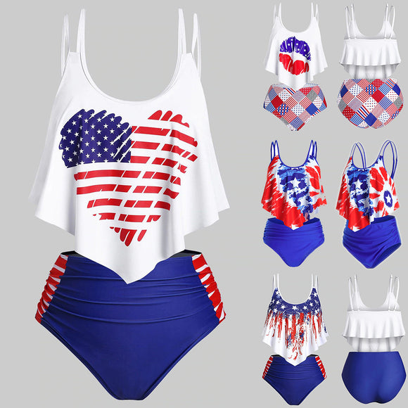 Flag Print Set Bikini 2020 Swimsuit Two Piece Bra 2020 United States Flag Print Swimwear Beachwear