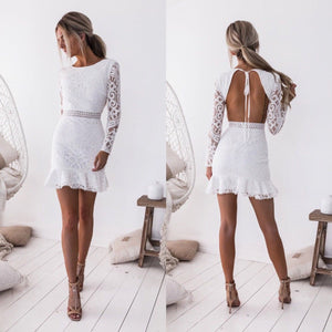 White Sexy Dress Lace Open Back Dress 2020 Long Sleeve Party Queen Elegance Backless Bodycon Dress 2020 Long Sleeve Summer Evening Party Short White Mini Dress 2020   Swansstyle