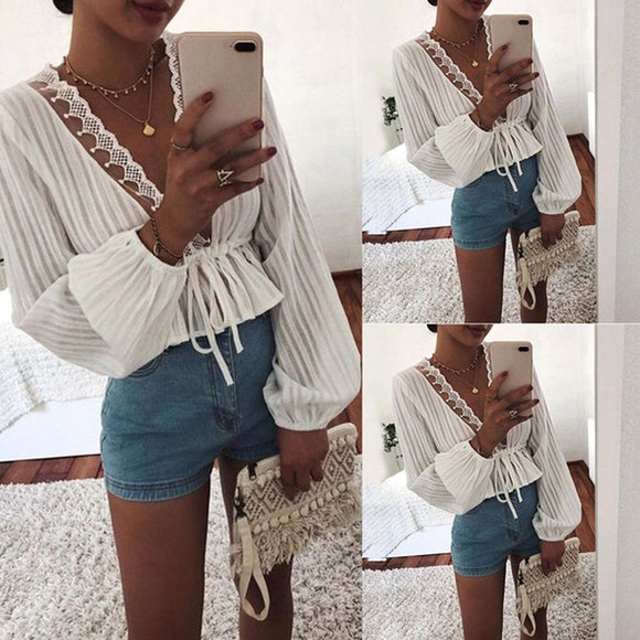 White Long Sleeve Crop Top 2020 Sexy Deep V Neck White Blouse Top Winter Style Clothing   Swansstyle