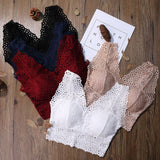 Womens Crop Top Floral Harness V-Neck Hollow Bralet Lace Camisole Tube Tops Black White Red