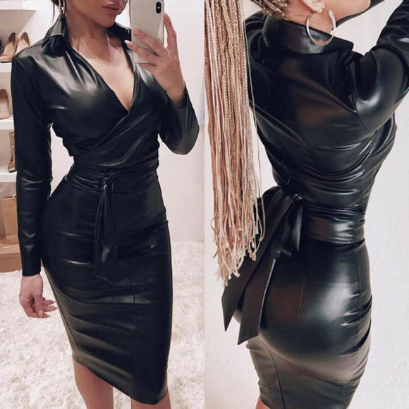 Womens Dresses Women Leather V Neck Bodycon Dress 2020 Long Sleeve Pencil Dresses 2020 Casual Winter Dress Ladies Party Dress