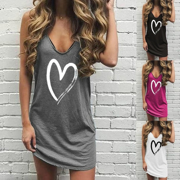Fashion Heart Print Basic Dress 220 Sleeveless Dress Summer V Neck Short Mini Dress 2020 Streetwear Casual Pencil T-Shirt Dress 2020 Sexy Vestidos