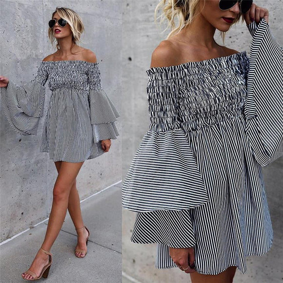 Womens Holiday Off Shoulder Stripe Mini Dress 2020 Party Ladies Casual Puff Sleeve Dress 2020 Long Sleeve Slash neck Dress 2020   Swansstyle