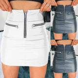 PU Leather Zipper Skirt 2020 Leather Mini Skirt High Waist Pencil Evening Party Club Wear Bodycon Short Mini Skirt 2020