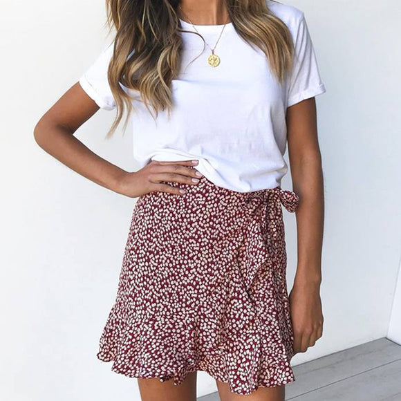 Womens Sexy Chic Retro Summer Skirts 2020 High Waist Ruffles Evening Print Flared Skirt 2020 Casual Party Leopard Mini Skirt 2020