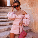 Pink Puff Sleeve Dress 2020 Women V Neck High Waisted Bodycon Dress 2020 Ladies Long Sleeve Pink Party Dress Vestidos Robes