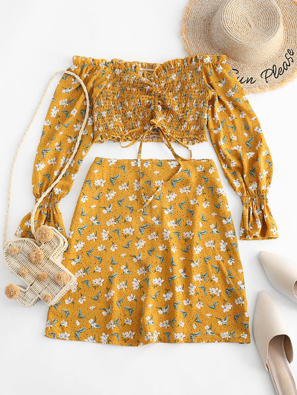 ZAFUL Floral Smocked Cinched Ruffle Cuff Two Piece Set Off Shoulder Shirred Tie Top e Skirt Set Meninas Zipper Fly Conjuntos de mulheres