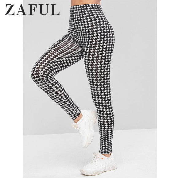 Leggings, Cheap Leggings, ZAFUL Houndstooth Print High Waist Leggings 2019 Autumn Modern Lady Fitness Leggins Highstreet Women Pants Trousers Streetwear