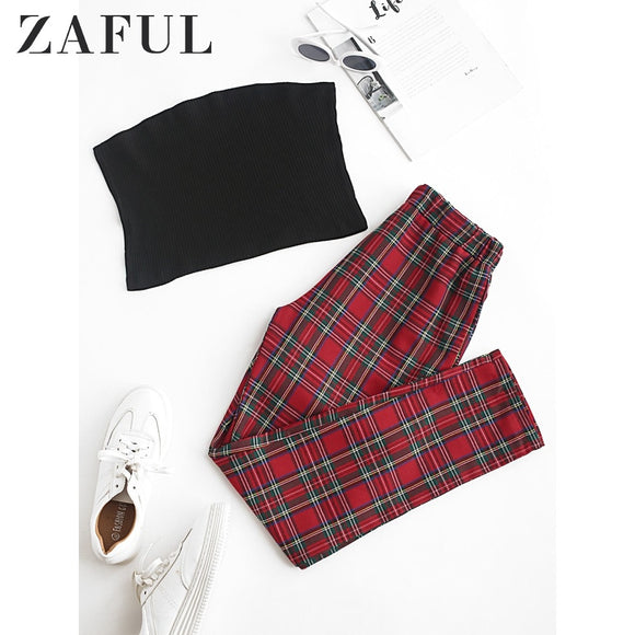 Women's Sets, Cheap Women's Sets, ZAFUL Solid Strapless Top And Plaid Pants Set Plain Tank Top High Waistline Pants Two Piece Suit Elastic Casual Women'S Sets
