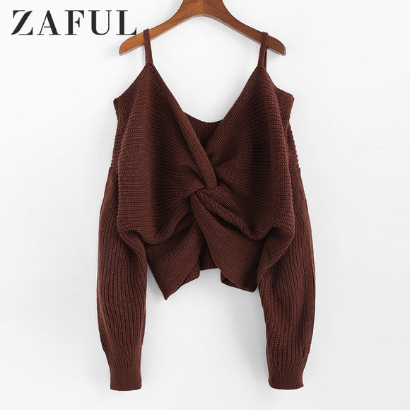 Pullovers, Cheap Pullovers, ZAFUL Twisted Cold Shoulder Jumper Sweater Women Pullovers 2019 Winter Warm Sexy Sweaters V neck Solid Cotton Sweaters Female