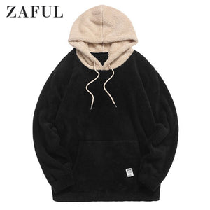 ZAFUL Winter Colorblock Splicing Faux Fur Fluffy Hoodie For Men Long Sleeve Pullovers Contrast Color Drawstring Tops Casual