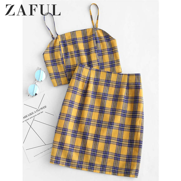 Women's Sets, Cheap Women's Sets, ZAFUL Yellow Plaid Sexy Two Piece Set Smocked Back Crop Top And Mini Skirt Summer Outfits Bodycon Dress Suit Women Sets 2019
