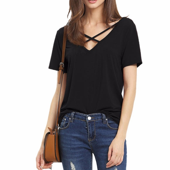 Women's Criss Cross Shirt 2020 Summer T-Shirt Women Short Sleeve V Neck Bandage T-Shirt Casual Sexy Women V Neck T-Shirt 2020 Camisetas Feminina Lady Tops