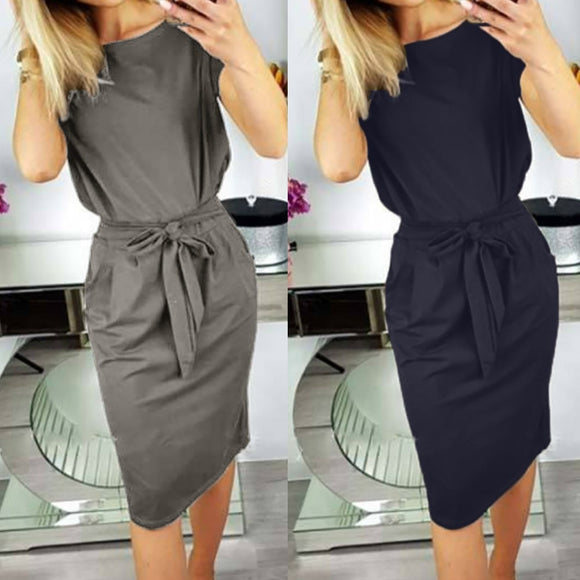 Casual Pocket Ladies Short Sleeve Dress 2020 Evening Party Dress Women's Short Sleeve Solid Color Pocket Dress 2020 Sexy Work Midi Dress