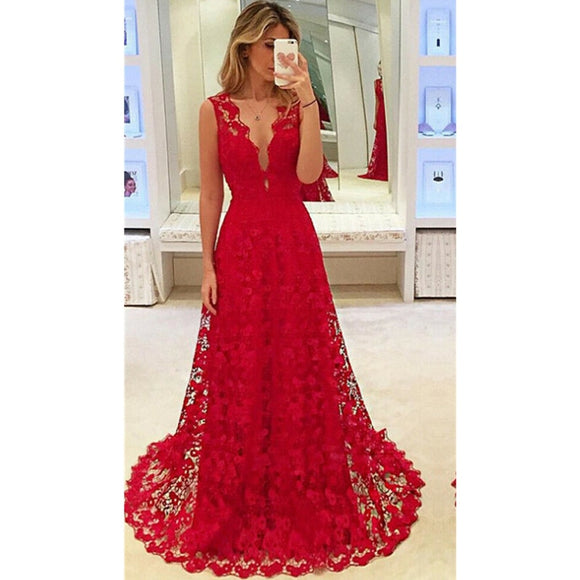 Deep V-neck Floral Lace Red Prom Dresses Hollow Out Long Evening Dress Red Lace Sleeveless Prom Dresses