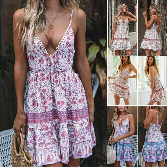 S-2Xl Boho Women Floral Mini Dress 2020 Beachwear Summer Bohemian Ladies Deep V Neck Strapless Slim Dress 2020 Casual Sleeveless Vestido
