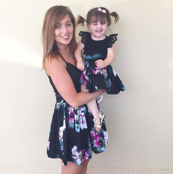 Coordinating Mother Daughter Outfits Casual Family Clothes Lady's Mother Daughter Matching Summer Baby Girl Dress Outfit
